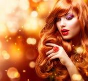 Het gouden Portret van het Meisje van de Manier Royalty-vrije Stock Foto