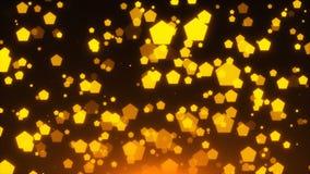 Het gouden schitteren pentagones is in ruimte, vakantie 3d teruggevende achtergrond, gouden explosie van confettien royalty-vrije illustratie