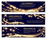 Het gouden schitterende magische malplaatje van fonkelings stardust banners stock illustratie