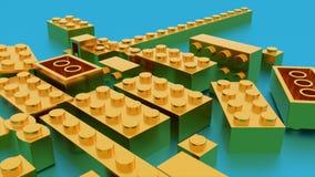 Het gouden speelgoed van de lego plastic baksteen royalty-vrije illustratie