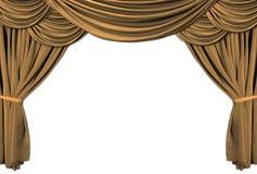 Het gouden Stadium van het Theater Gedrapeerd met Gordijnen Royalty-vrije Stock Afbeeldingen