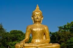 Het gouden standbeeld van Boedha bij tempel van Thailand Royalty-vrije Stock Afbeelding