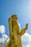 Het gouden Standbeeld van Boedha op blauwe hemelachtergrond Royalty-vrije Stock Fotografie