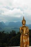 Het gouden Standbeeld van Boedha in Thailand stock afbeelding