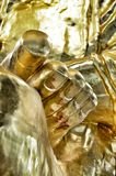 Het gouden standbeeld van voetboedha Stock Fotografie