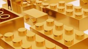 Het gouden stuk speelgoed van lego plastic bakstenen vector illustratie