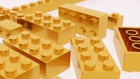 Het gouden stuk speelgoed van lego plastic bakstenen stock illustratie