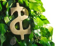 Het gouden Symbool van de Dollar Stock Foto