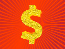 Het gouden Symbool van de Dollar Royalty-vrije Stock Foto