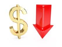 Het gouden symbool van de Dollar en benedenpijlen Stock Fotografie