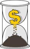 Het gouden symbool van de Dollarmunt in de witte zandloper Stock Afbeeldingen