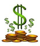 Het gouden Teken Clipart van de Dollar van Muntstukken Stock Foto