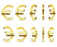 Het gouden teken is een Euro op witte achtergrond stock illustratie