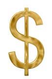 Het gouden Teken van de Dollar stock foto