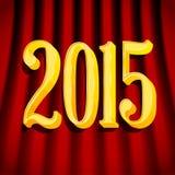Het gouden teken van 2015 op gordijnen Stock Foto's