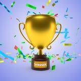 Het gouden trofee 3d teruggeven Stock Afbeeldingen
