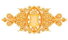 Het gouden uitstekende decor van Ornated met heraldisch schild. stock illustratie
