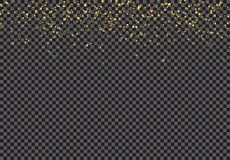 Het gouden vallen schittert deeltjeseffect op transparante achtergrond stock illustratie