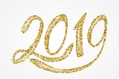 het gouden van letters voorzien van 2019 Royalty-vrije Stock Afbeeldingen