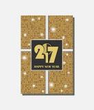 Het gouden vector uitstekende ontwerp van de giftkaart met glanzende rondesachtergrond Nieuwjaar 2017 concept Stock Fotografie