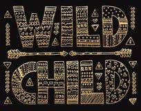 Het gouden Wilde kind van letters voorzien stock illustratie