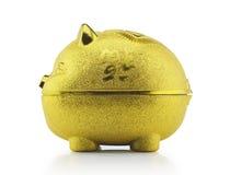 Het gouden zijaanzicht van het spaarvarken met het knippen van weg Royalty-vrije Stock Fotografie