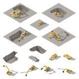 Het graafwerktuig en de bulldozer graven een kuil op de reeks van het bouwwerf isometrische pictogram Stock Foto