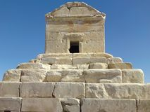 Het graf van Cyrus Groot is het belangrijkste monument in Pasargad stock afbeeldingen