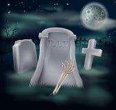 Het graf van de het skelethand van Undead Stock Afbeelding