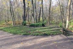 Het graf van de schrijver in het landgoed van Telling Leo Tolstoy in Yasnaya Polyana in Oktober 2017 stock afbeeldingen