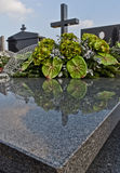 Het graf van het graniet op begraafplaats Stock Foto