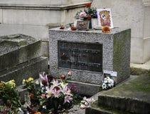 Het graf van Jim Morrison in de begraafplaats van Parijs - Pere Lachaise- Stock Foto's