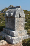 Het graf van Lycian in Kalekoy, Kekova. Royalty-vrije Stock Foto