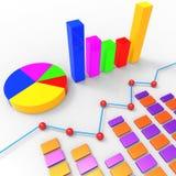 Het grafiekrapport vertegenwoordigt Tendensgrafiek en Financiën Stock Fotografie