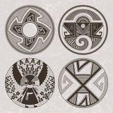 Het grafische art. van Noord-Amerika Pueblo Indiërs Tatoegering en drukreeks Stock Fotografie