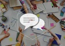 Het Grafische Concept van boodschappersdiscussion community technology royalty-vrije stock afbeelding
