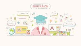 Het grafische concept van de onderwijsinformatie Student en onderwijsstijl van de pictogrammen de vlakke die lijn door wordt gecr Royalty-vrije Stock Foto's