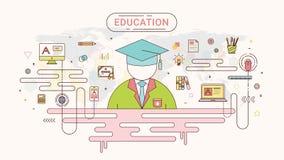 Het grafische concept van de onderwijsinformatie Student en schoolpictogrammen op de achtergrond van de wereldkaart door de vecto Stock Fotografie