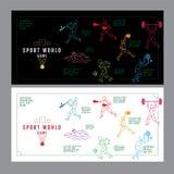 Het grafische concept van de ontwerpsport Sportuitrustingachtergrond Vecto Stock Foto's