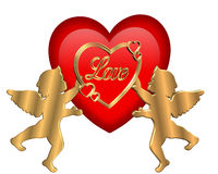 Het Grafische Hart en de Cupido's van de valentijnskaart Stock Afbeeldingen