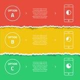 Het grafische malplaatje van de kleureninformatie Gescheurd Document De slimme banners van de telefoonbevordering Stock Afbeeldingen