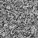 Het grafische naadloze patroon van Hippiehand getrokken artistieke krabbels mon Stock Afbeeldingen