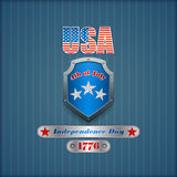 Het grafische ontwerp, malplaatje met metaalschild, nagelde verzilverd tafelgerei voor four Juli, Amerikaanse Onafhankelijkheidsd Stock Foto
