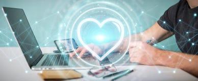 Het grafische ontwerper gebruiken die toepassing dateren om liefde online 3D te vinden Royalty-vrije Stock Afbeeldingen