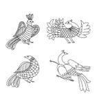 Het grafische ornament van vogels Stock Fotografie