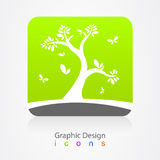 Het grafische teken ontwerp van de bedrijfsembleemboom Stock Foto