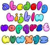 Het grappige alfabet van bellenkleine letters Stock Foto's