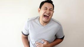 Het grappige Aziatische Mens Lachen stock afbeelding