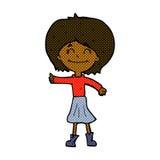 het grappige beeldverhaal gelukkige meisje geven beduimelt omhoog symbool Stock Afbeelding