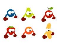 Het grappige beeldverhaal van fruitkarakters Stock Foto